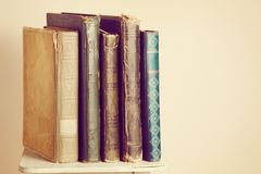 Old books. Standing on shelf Stock Photos