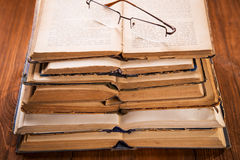 Old books in studio Stock Photography