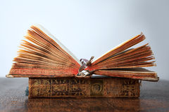 Old books on the table stock photography