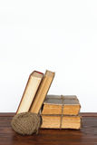Old books and thread Royalty Free Stock Image