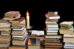 Old books three. Reading old books of the past Royalty Free Stock Images
