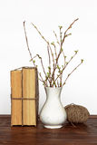 Old books, vase with twigs and thread Stock Photo