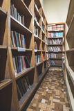Old books in a vintage library. Shelves Royalty Free Stock Image