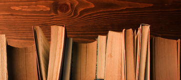 Old books on wood Royalty Free Stock Photos