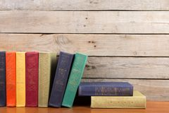 books on the wooden background royalty free stock photos