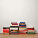 Old books on wooden floor Royalty Free Stock Photography