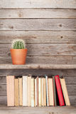 Old books on a wooden shelf Royalty Free Stock Photo