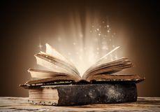 Old books on wooden table Royalty Free Stock Image