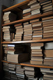 Old Bookshelf. Many books on the old bookshelf,recorded the past history stock image
