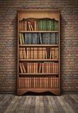 Old bookshelf in room. Background Stock Photos