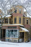 Old bookstore in the snow royalty free stock photography