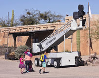 An Old Boom Lift of Old Tucson, Tucson, Arizona Stock Images