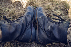 Old boot. The old race boots on the top of a hill Royalty Free Stock Image