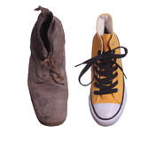 Old boot and sneaker. Topview of old boot and sneaker on white background Royalty Free Stock Photos