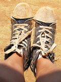 Old Boots. A background of old, roughed up canvas shoes Royalty Free Stock Images