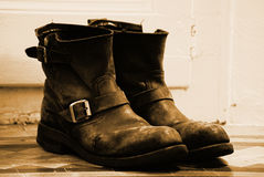 Old Boots. A pair of old beaten leather boots Royalty Free Stock Images
