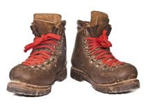 Old boots. Old dirty boots on white background Royalty Free Stock Photography