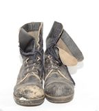 Old Boots. Pair of Old, Well Worn, Military Boots on White Stock Photography