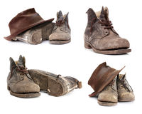 Old Boots Collection. Old work boots and battered hat.  Collection isolated on white Stock Photo