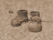 Old boots and rats - 3D render Stock Photos