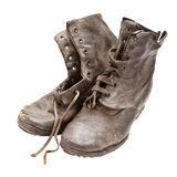 Old boots. A studio shot of a pair of old boots isolated on white Royalty Free Stock Photos