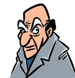 Old boring man cartoon illustration Royalty Free Stock Photography