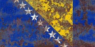 Old Bosnia and Herzegovina grunge background flag.  Stock Photos