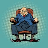 Old boss in the chair. Comic cartoon pop art retro vector vintage illustration Stock Photo