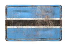 Old Botswana flag. 3d rendering of a Botswana flag over a rusty metallic plate. Isolated on white background Royalty Free Stock Images
