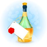 Old Bottle with card and seal. Vector. Old Bottle with card and seal. Vector illustration Stock Illustration
