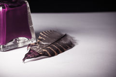 Old bottle of red purple ink with feather old vintage writing concept on white sheet of paper. Bottle of red purple ink with feather old vintage writing concept Royalty Free Stock Photo