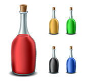 Old bottle set with different liquids Stock Photo