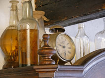 Old bottles with herbal drink. Stock Photography