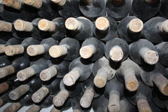 Old bottles of vine Royalty Free Stock Photo