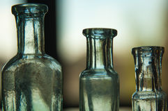 Old bottles. Old vintage glass bottles close-up royalty free stock photo
