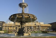 Old Bourse and fountain, Stuttgart Royalty Free Stock Images