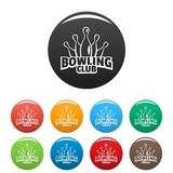 Old bowling icons set color stock photo