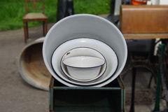 Old bowls sale at the flea market Stock Photo