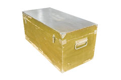 Old Box of ammunition. Old ammunition box of green color on a white background Stock Image
