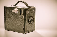 Old box camera in black and white Royalty Free Stock Image