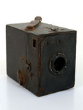 Old Box Camera In Brown Lwather Case. Vintage box brownie camera Stock Photo