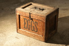 Old box for eggs. An old wooden box for eggs, with a metal handle and a metal latch Stock Images