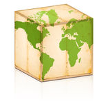 Old box with map on it. Old box with world map on it Royalty Free Stock Photos