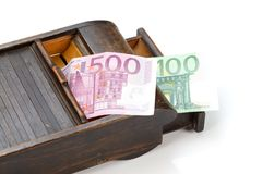 Old box with money Stock Photos