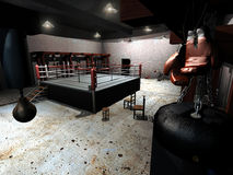 Old boxing club. Interior of an old boxing club, with hanged up boxing gloves, punching ball, boxing ring Stock Images