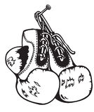 Old boxing gloves royalty free stock image