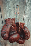 Old boxing gloves Stock Photos