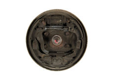 Old brake pads and cylinder brake drum (isolated) Royalty Free Stock Images