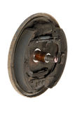 Old brake pads and cylinder brake drum (isolated) Royalty Free Stock Photography
