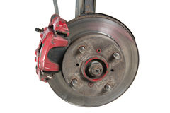 Old brake pads and disk (isolated) stock image